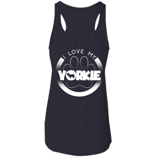 I LOVE MY YORKIE (Paw Design) - Back Design - Bella+Canvas Flowy Racerback Tank