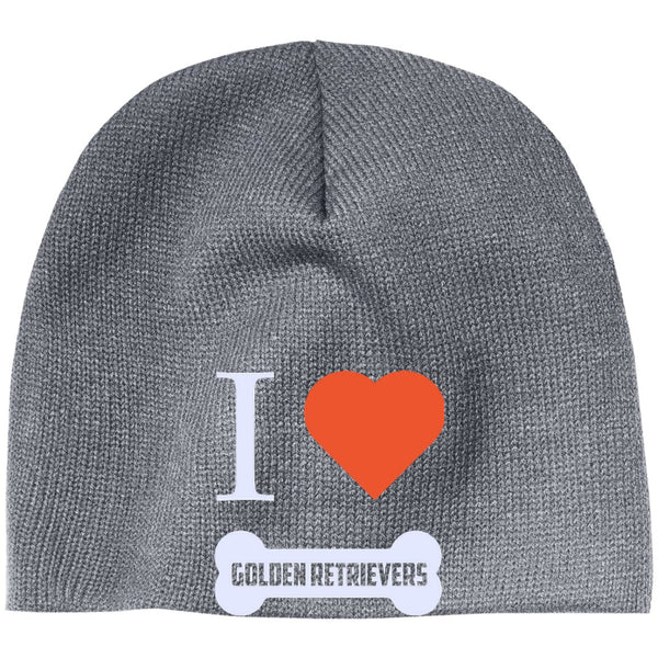 Golden Retriever- I LOVE MY GOLDEN RETRIEVER (BONE DESIGN) - Beanie (Embroidered)