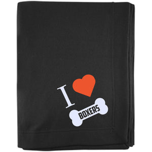 Boxer - I LOVE MY BOXER (BONE DESIGN) - Embroidered Sweatshirt Blanket