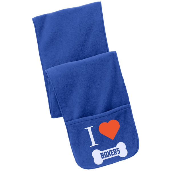 Boxer - I LOVE MY BOXER (BONE DESIGN) - Fleece Scarf with Pockets