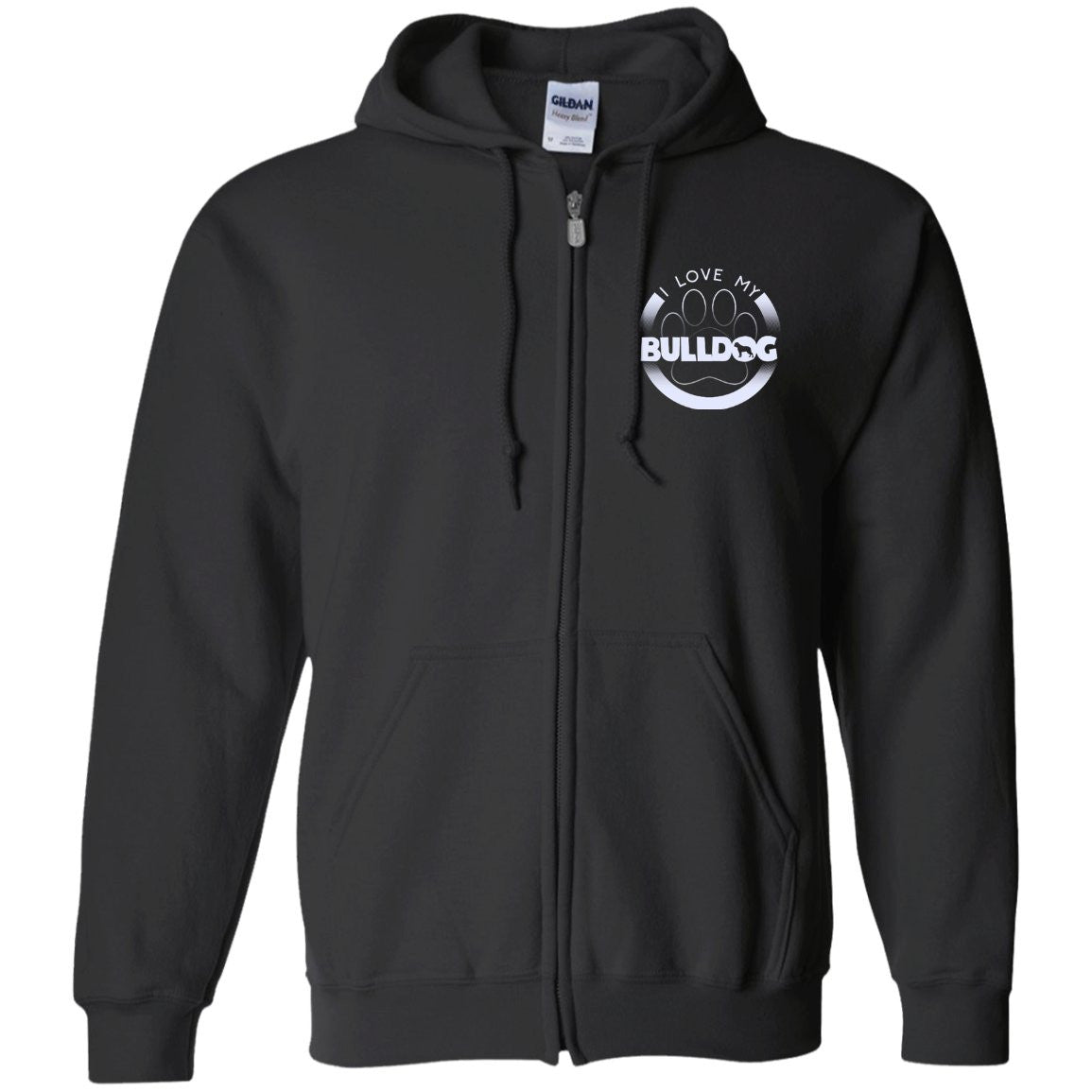 I LOVE MY BULLDOG (Paw Design) - Front Design  - Embroidered Zip Up Hooded Sweatshirt