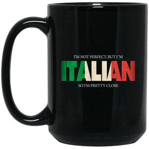 Funny Italian Gift Not Perfect Italian Flag Large Black Mug
