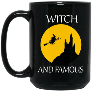 Funny Witch and Famous Halloween Mug Large Black Mug
