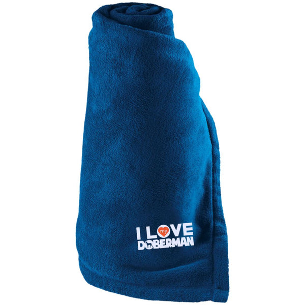 I Love My Doberman - Large Fleece Blanket