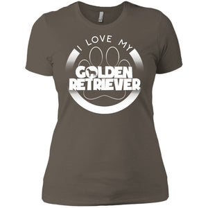 I LOVE MY GOLDEN RETRIEVER (Paw Design) - Front Design  -  Next Level Ladies' Boyfriend Tee