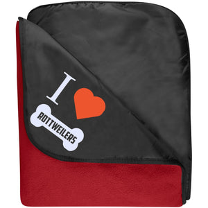 Rottweiler - I LOVE MY ROTTWEILER (BONE DESIGN) - Fleece & Poly Travel Blanket (Embroidered)