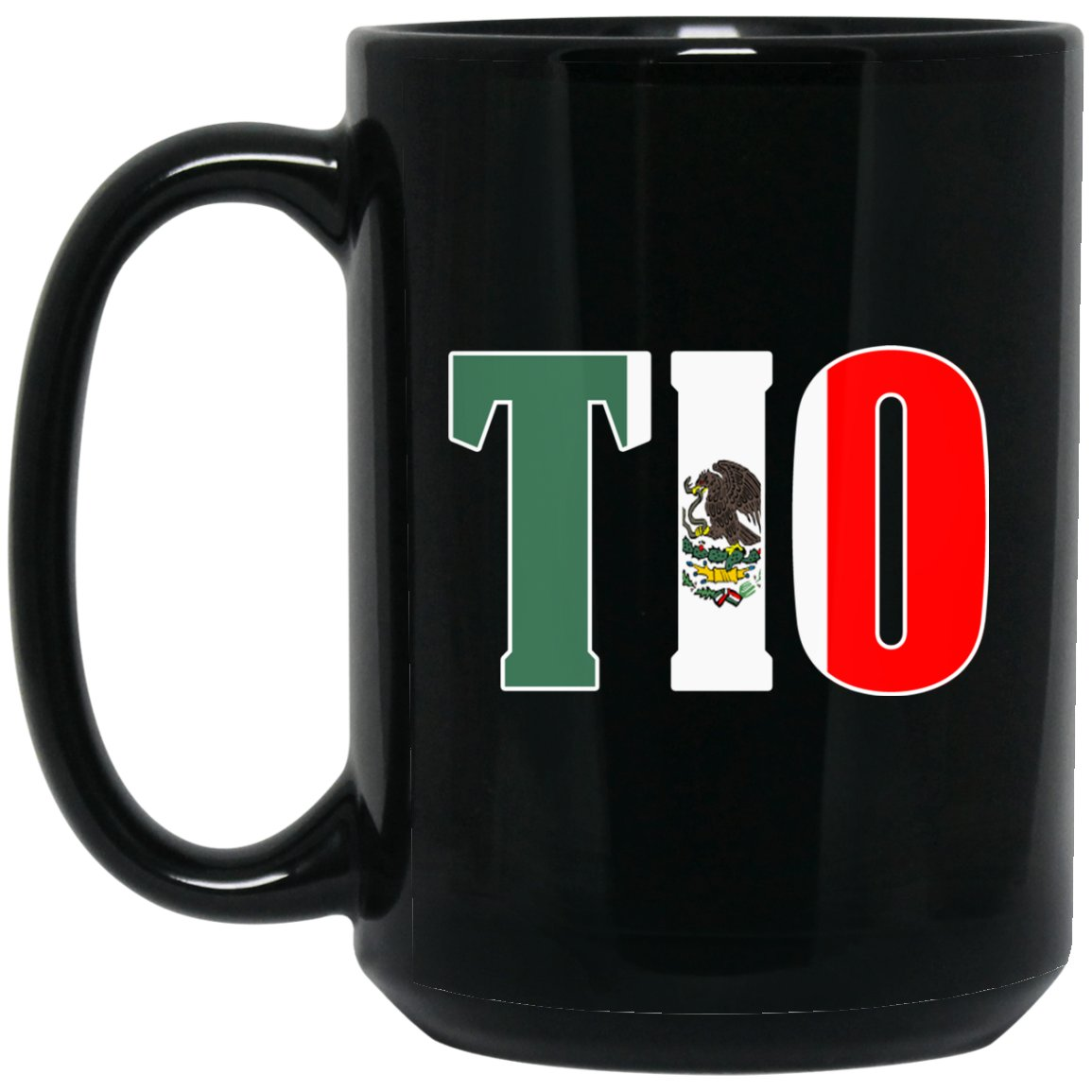 Cool Tio Gift Coffee Mug Mexican Flag Mug for Mexican Pride Outlined Large Black Mug