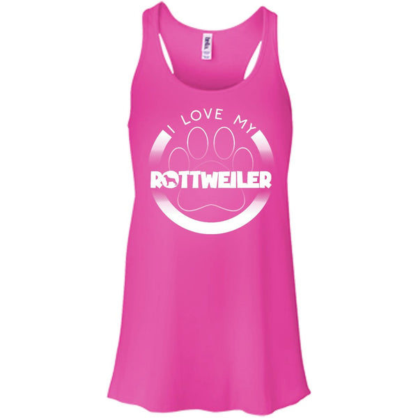 I LOVE MY ROTTWEILER (Paw Design) - Front Design - Bella+Canvas Flowy Racerback Tank