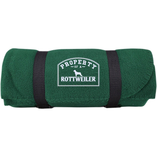 Rottweiler - Property Of A Rottweiler -  Fleece Blanket (Embroidered)
