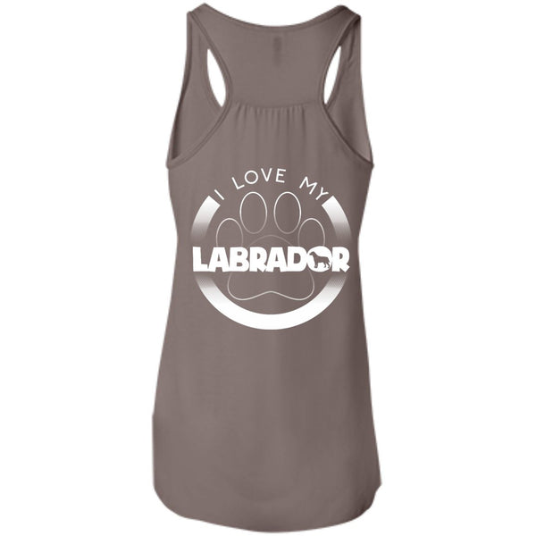 I LOVE MY LABRADOR (Paw Design) - Back Design  - Bella+Canvas Flowy Racerback Tank