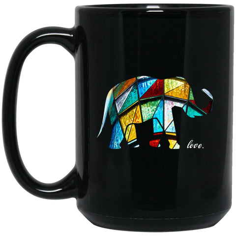 Stained Glass Elephant Gift Large Black Mug