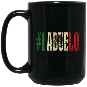 Cool Abuelo Gift Coffee Mug For Mexican Flag Mug for Mexican Pride Vintage Large Black Mug