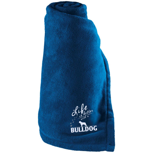 Bulldog - Life Is Better With A Bulldog Paws - Large Fleece Blanket