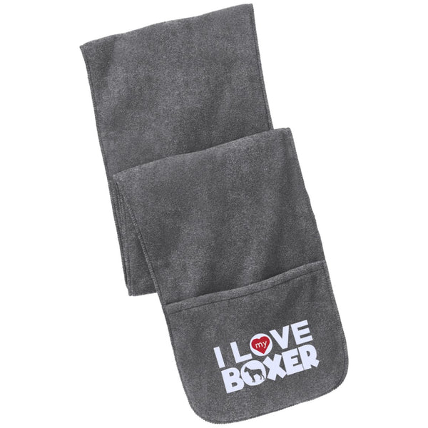 I Love My Boxer - Fleece Scarf with Pockets