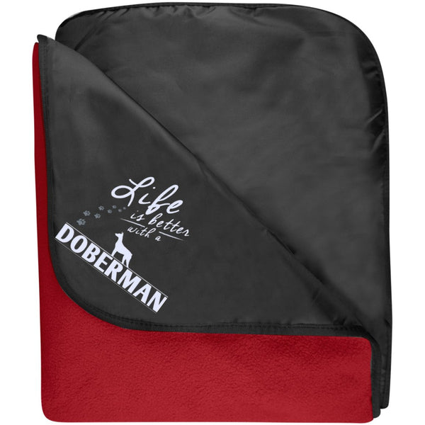Doberman - Life Is Better With A Doberman Paws - Fleece & Poly Travel Blanket (Embroidered)