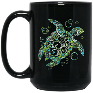 Beautiful Sea Turtle Gift Large Black Mug