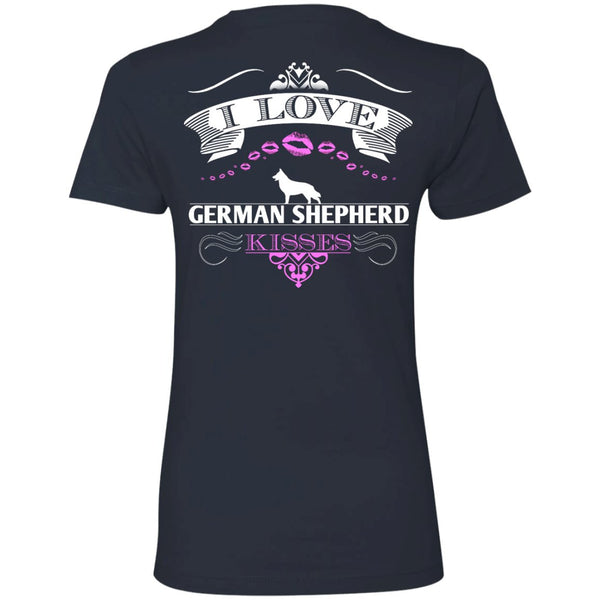 I LOVE GERMAN SHEPHERD KISSES - BACK DESIGN -  Next Level Ladies' Boyfriend Tee