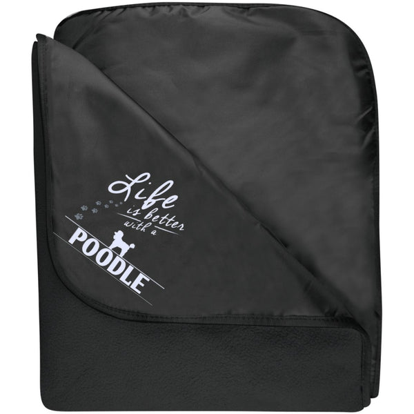 Poodle- Life Is Better With A Poodle Paws - Fleece & Poly Travel Blanket (Embroidered)