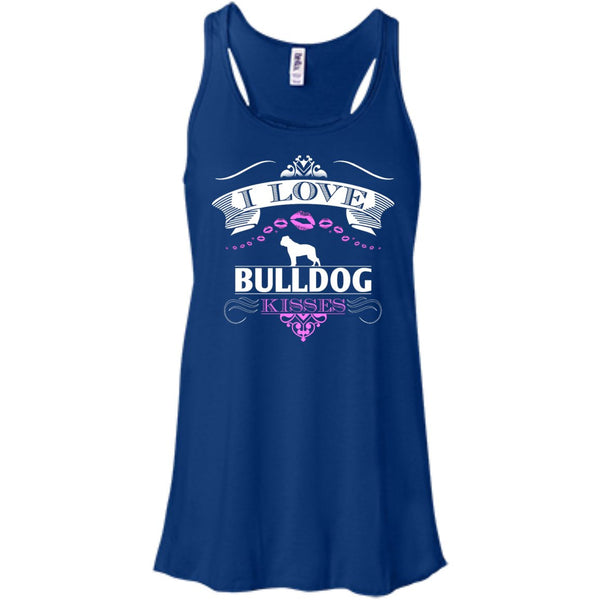 I LOVE BULLDOG KISSES - FRONT DESIGN - Bella+Canvas Flowy Racerback Tank