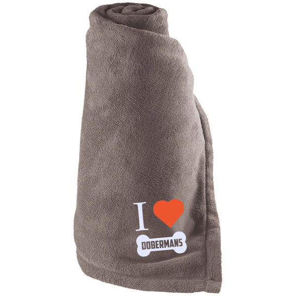 Doberman - I LOVE MY DOBERMAN (BONE DESIGN) - Large Fleece Blanket
