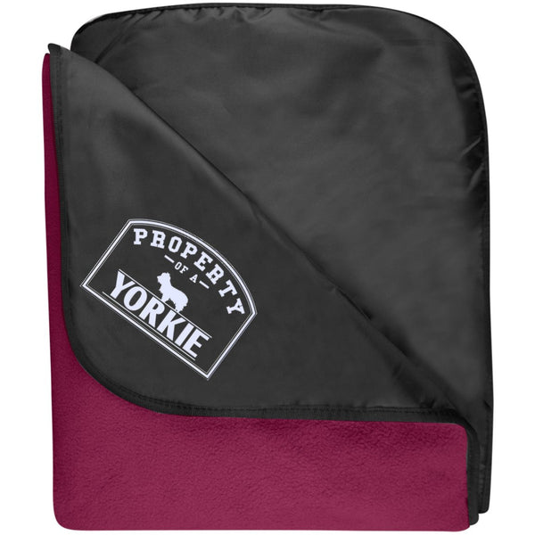 Yorkshire Terrier - Property Of A Yorkshire Terrier- Fleece & Poly Travel Blanket (Embroidered)