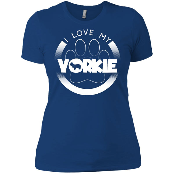I LOVE MY YORKIE (Paw Design) - Front Design - Next Level Ladies' Boyfriend Tee