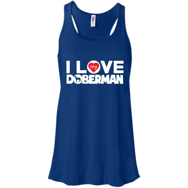 I Love My Doberman - Bella+Canvas Flowy Racerback Tank