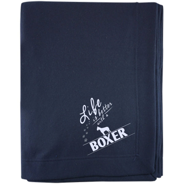 Boxer - Life Is Better With A Boxer Paws - Embroidered Sweatshirt Blanket