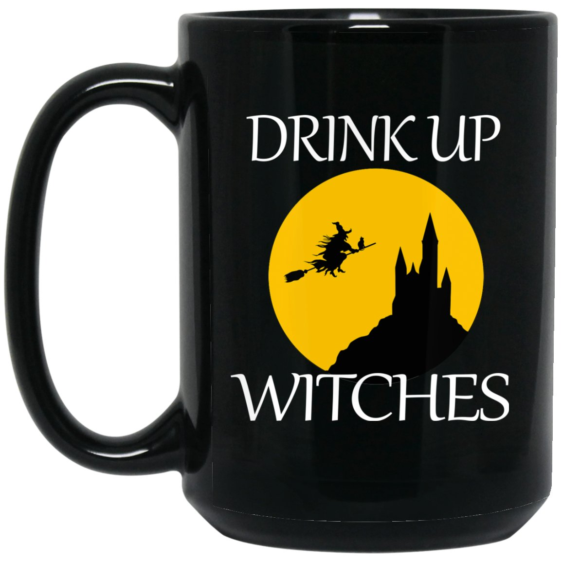 Cute Drink Up Witches Large Black Mug
