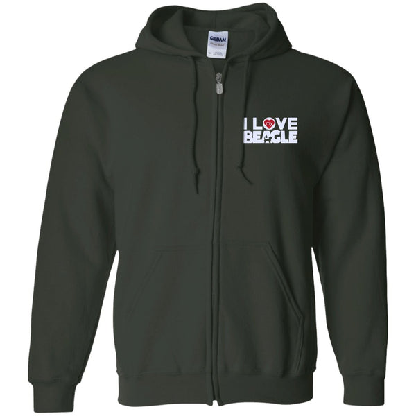 I Love My Beagle - Embroidered Zip Up Hooded Sweatshirt