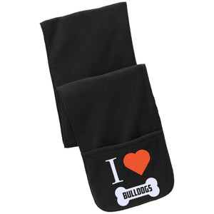 Bulldog - I LOVE MY BULLDOG (BONE DESIGN) - Fleece Scarf with Pockets