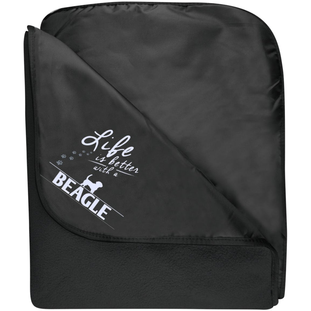 Beagle - Life Is Better With A Beagle Paws - Fleece & Poly Travel Blanket (Embroidered)