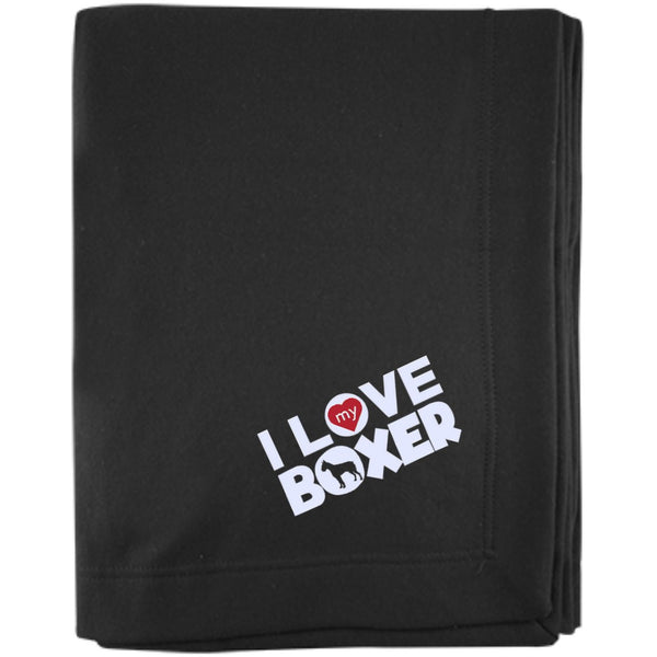 I Love My Boxer - Embroidered Sweatshirt Blanket