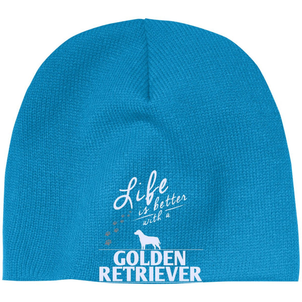 Golden Retriever - Life Is Better With A Golden Retriever Paws - Beanie (Embroidered)