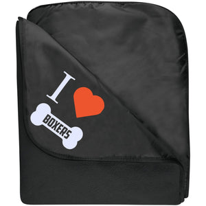 Boxer - I LOVE MY BOXER (BONE DESIGN) - Fleece & Poly Travel Blanket (Embroidered)