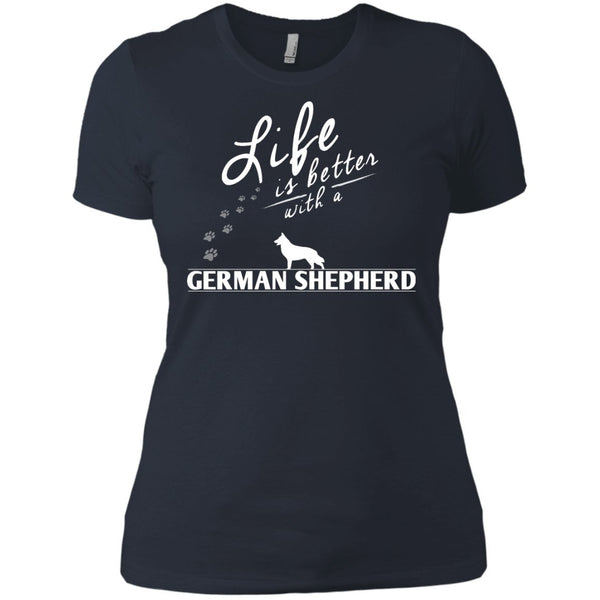 German Shepherd - Life Is Better With A German Shepherd Paws - Next Level Ladies' Boyfriend Tee