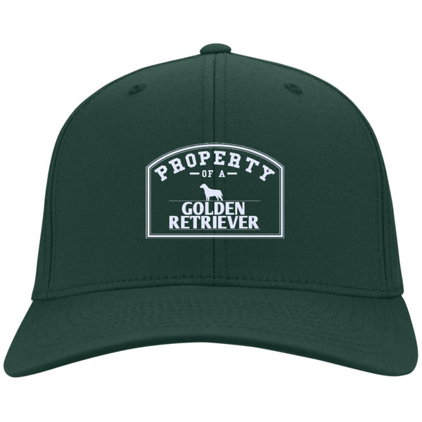 Golden Retrievers - Property Of A Golden Retrievers - Dry Zone Nylon Cap (Embroidered)