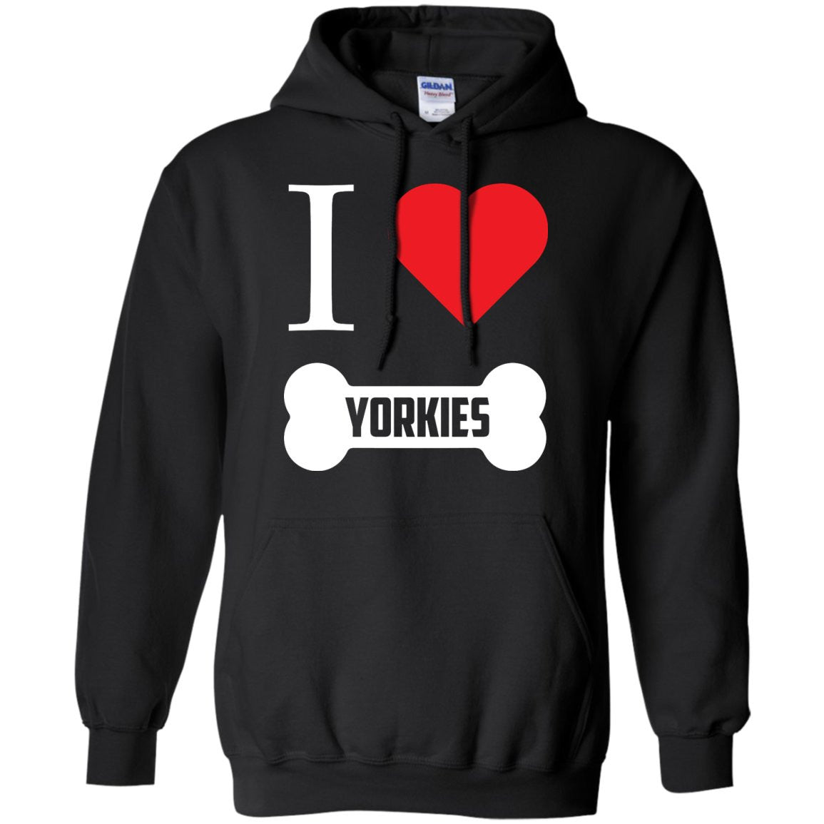 Yorkshire - I LOVE MY YORKSHIRE (BONE DESIGN) - Pullover Hoodie 8 oz