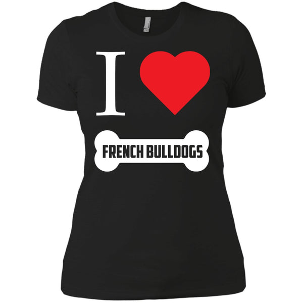 French Bulldog - I LOVE MY FRENCH BULLDOG (BONE DESIGN) - Next Level Ladies' Boyfriend Tee