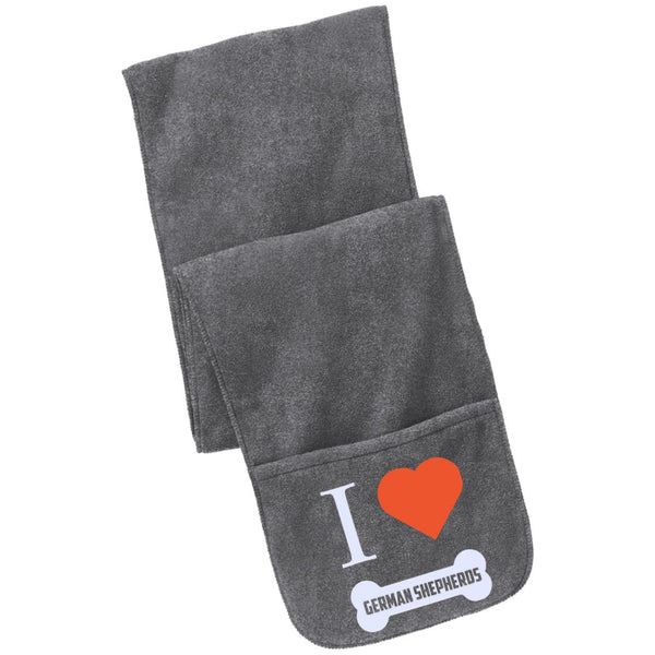 German Shepherd - I LOVE MY German Shepherd (BONE DESIGN) - Fleece Scarf with Pockets