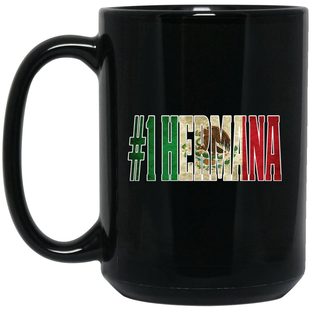 Cool Hermana Gift Coffee Mug For Mexican Flag Mug for Mexican Pride Vintage Flag Outline Large Black Mug