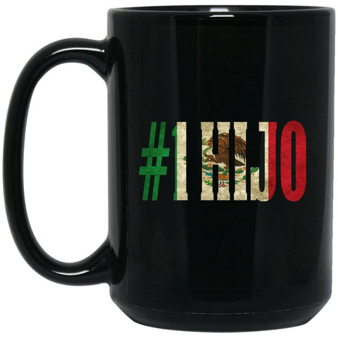 Cool Hijo Gift Coffee Mug For Mexican Flag Mug for Mexican Pride Vintage Large Black Mug