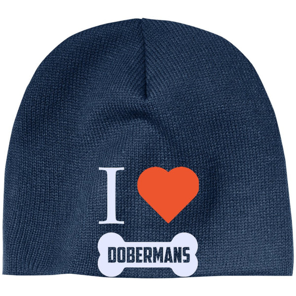 Doberman - I LOVE MY DOBERMAN (BONE DESIGN) - Beanie (Embroidered)