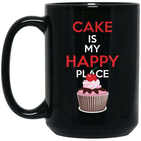Funny Baking Gift - Cake is My Happy Place Large Black Mug