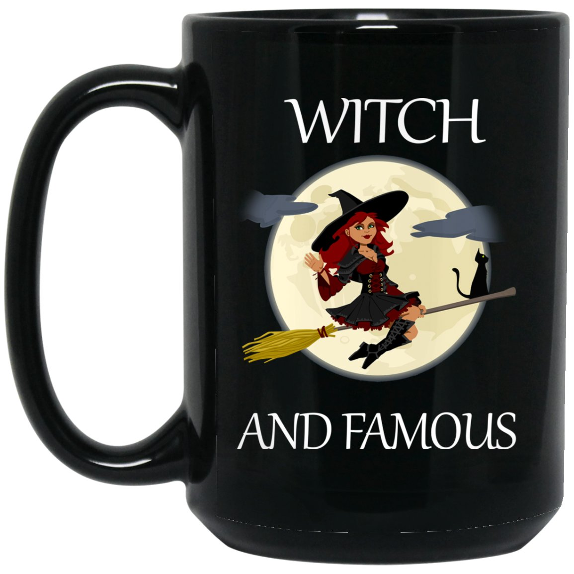 Funny witch Witch and Famous t shirt Large Black Mug