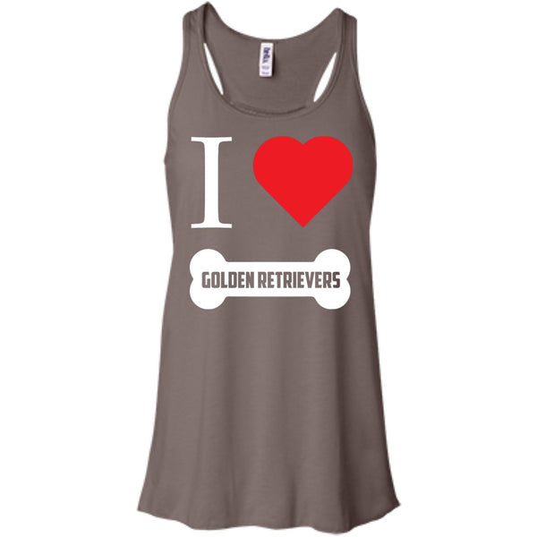Golden Retriever- I LOVE MY GOLDEN RETRIEVER (BONE DESIGN) - Bella+Canvas Flowy Racerback Tank