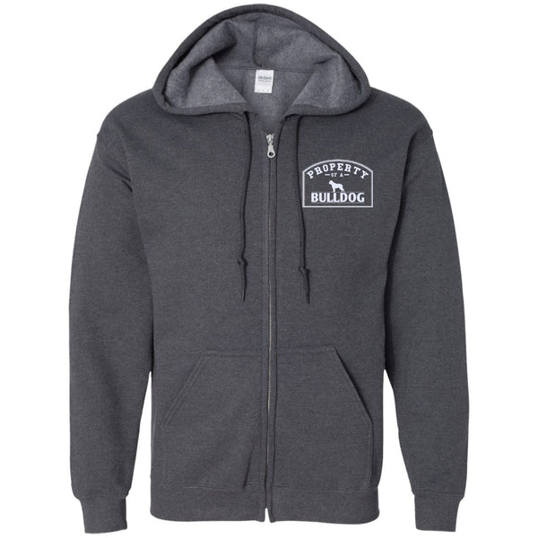 Bulldog - Property Of A Bulldog - Embroidered Zip Up Hooded Sweatshirt
