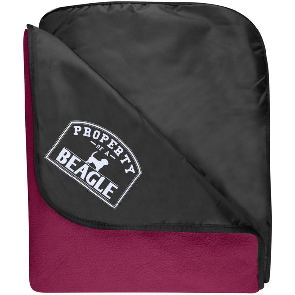 Beagle - Property Of A Beagle - Fleece & Poly Travel Blanket (Embroidered)