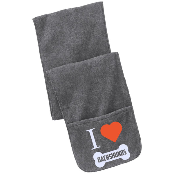 Dachshund - I LOVE MY Dachshund (BONE DESIGN) - Fleece Scarf with Pockets