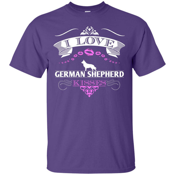 I LOVE GERMAN SHEPHERD KISSES - FRONT DESIGN - Custom Ultra Cotton T-Shirt